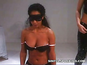 Punishment of cute blinfolded brunette from mistress