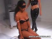 Punishment of cute blinfolded brunette from mistress