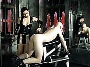 Man was spanked by hot brunette in latex