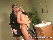 Hard spanking and humiliation of blond slavegirl