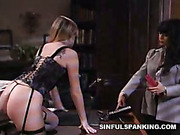 Terrible punishment with hairbrush from lesbo domme