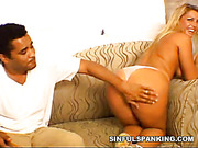 Hard spanking with long stick for slutty blonde