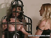 Bitches in lingerie play kinky games in cage