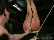 Bitch in white panties suspended and caned