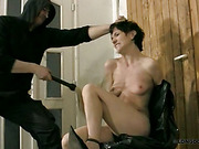 Tiny skinny tits of cuffed slavegirl whipped rough