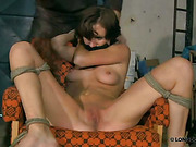 Gagged victim got open pussy whipped