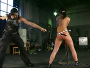 Ass of bound bitch was painfully whipped