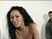 Asian bitch got ass paddled while sucking dildo