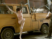 Cruel whipping in old car of skinny slavegirl