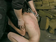 Whipping in dirty garage for tiny slaveslut