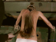 Skinny back of tattooed blonde caned and whipped