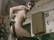 Cunt and tits of tied brunette were whipped