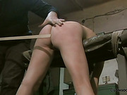 Bound in the garage hottie suffered from caning