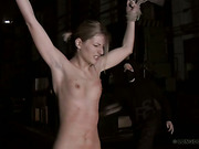 Bound stretched blonde got harsh bullwhipping