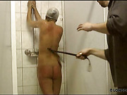 Wet fat ass whipped in the shower room