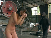 Nude brunette got terrible bullwhipping on the factory