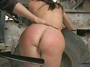 Poor nude slut spanked with whip and shoehorn