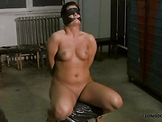 Chubby blindfolded MILF was gagged and spanked
