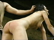 Kinky brunette begged her punisher for whipping
