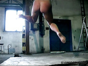 Full body whipping for naked bound Angie