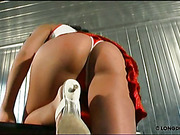 Hot ass of cheerleader in uniform was caned