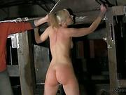 Nude bound blonde got body bullwhipping