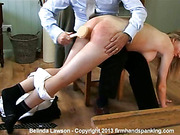 Disobedient blond student got ass spanked with hairbrush