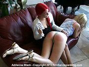Crazy teen lesbians practiced OTK spanking