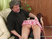 Blond and brunet sluts got brutal OTK spanking