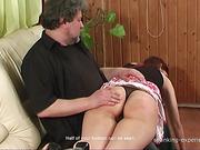 Blond and brunet sluts got brutal OTK spanking