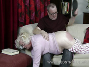 Big ass of chubby granny was spnked OTK
