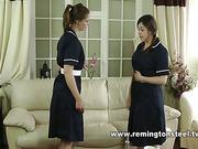 Hardcore OTK discipline with two maids