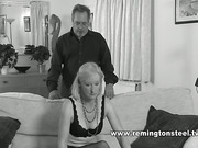 Domestic caning set for blond housewife in lingerie