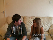 Teen guy strapped his bitch's hot ass