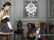 Maid in uniform got ass paddled for laziness
