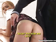 A voluptuous girl gives up her lovely ass for spanking