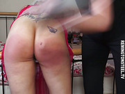 Chubby blonde spanked