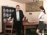 Director spanks a girl