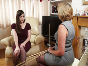 Mean brunette was caned