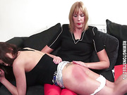 Bent over the knee this ravishing young wife is spanked