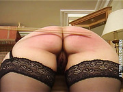 The lady does get a hard hand spanking