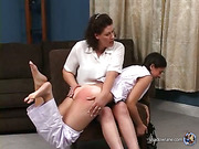 Sarah & Jenni - one as well as the other Spanked