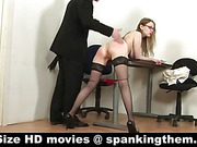 Secretary in fishnets flogged