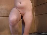 Handcuffed Sasha got hard full body whipped in a dirty room.