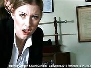 Dani Daniels spanks Belinda Lawson's bare bottom with a