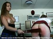Topless Dani Daniels straps Belinda Lawson red raw before