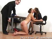 Sweet lesbian kisses and painful male slaps