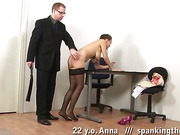Big-titted secretary whipped on the table