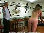 Girl caned totally nude for posing on campus