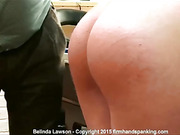 Belinda Lawson spank by bent over a pool table